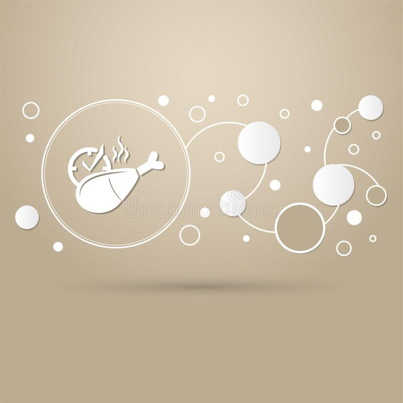 Kurczak noga lub drumstick ikona na brown tle z eleganckim stylem i nowożytnym projektem infographic royalty ilustracja