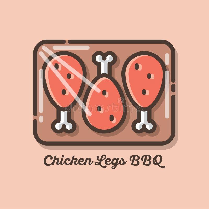 Kurczak nogi w grilla kumberlandzie Kurczaka mięsa ikony Płaska ilustracja kurczaka mięso ilustracji