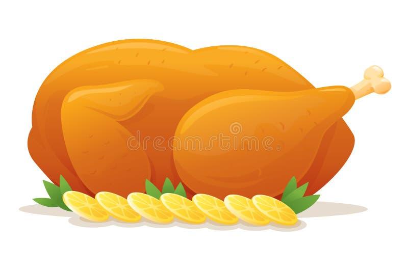kurczak piec cały ilustracja wektor