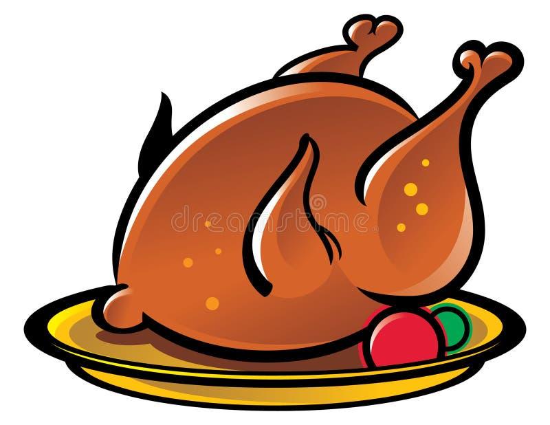 kurczak piec na grillu royalty ilustracja