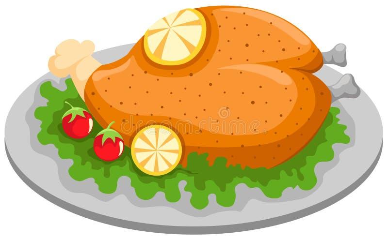 kurczak piec na grillu cytryna talerza ilustracja wektor