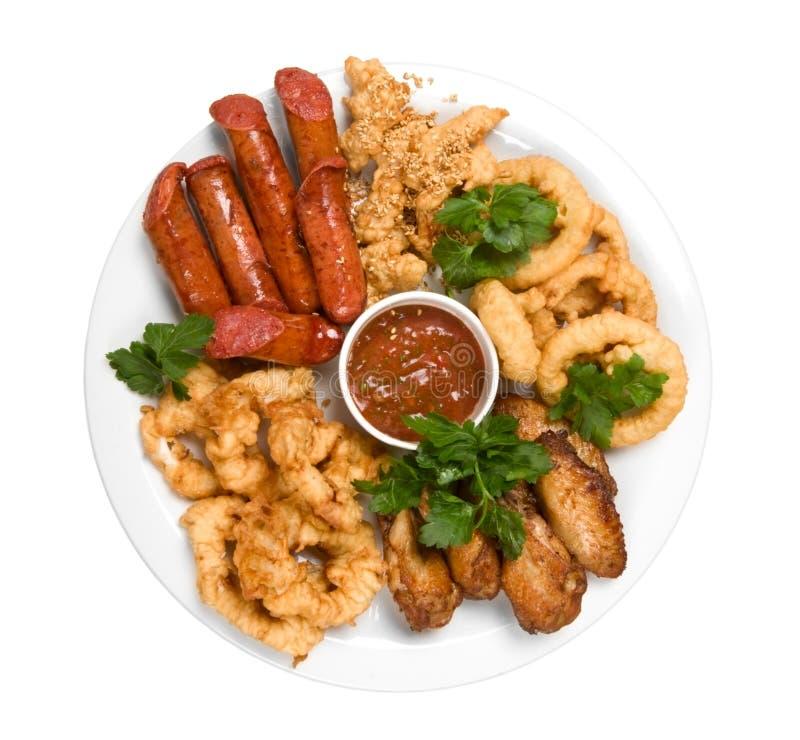 kurczak piec na grillu kiełbasa zdjęcia royalty free