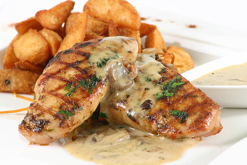 kurczak piec na grillu stek obraz stock