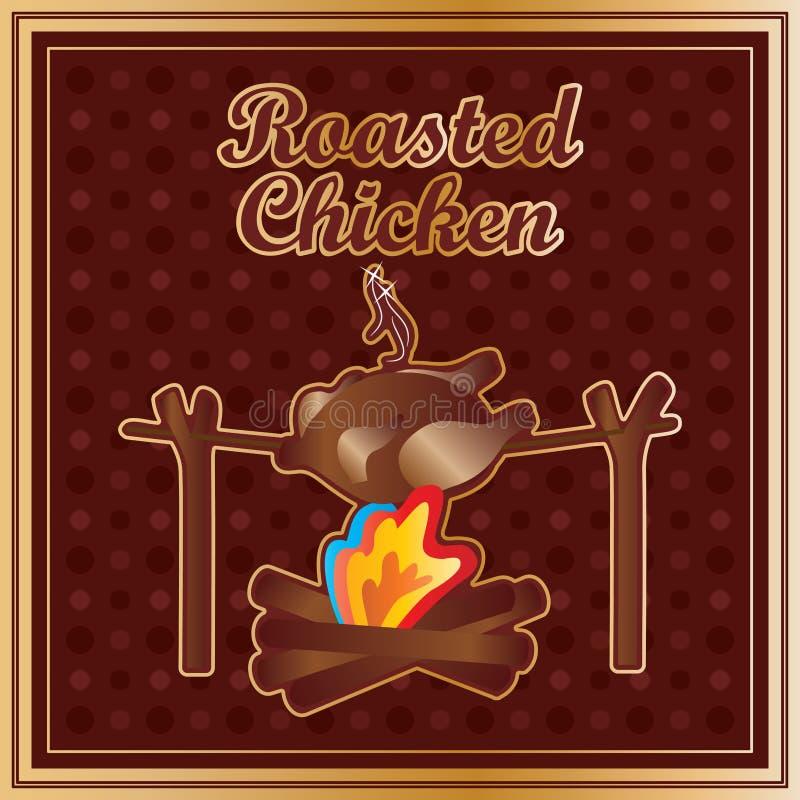 Kurczak piec stary royalty ilustracja