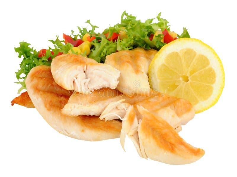 Kurczak pierś Przepasuje Z sałatką zdjęcie stock
