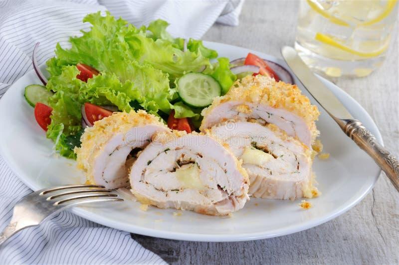 Kurczak rolka w breadcrumbs fotografia stock