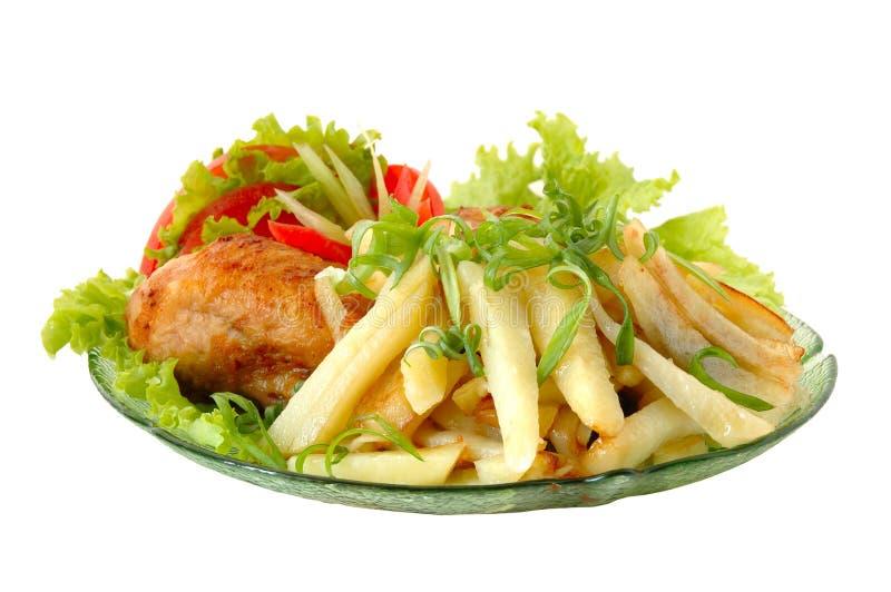 kurczak smażonej ziemniaka obrazy stock