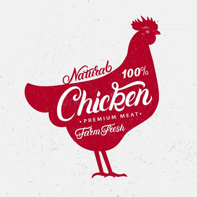 Kurczak sylwetka i ręki pisać literowań słowa ilustracja wektor