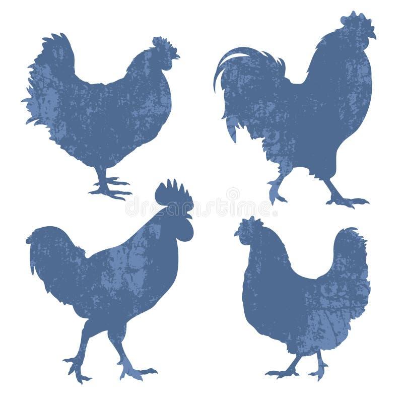 Kurczak sylwetki Grunge royalty ilustracja