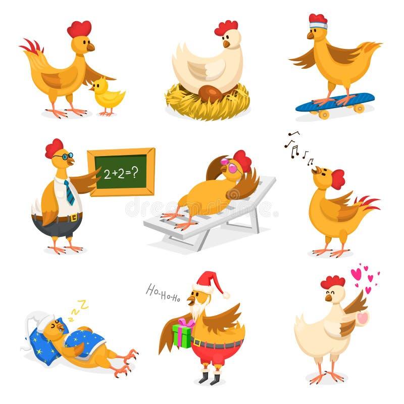 Kurczak wektorowej kreskówki pisklęcy charakter na Christrmas lub walentynek dniu przyjęcie i karmazynka w Santa kapeluszu z xmas ilustracji