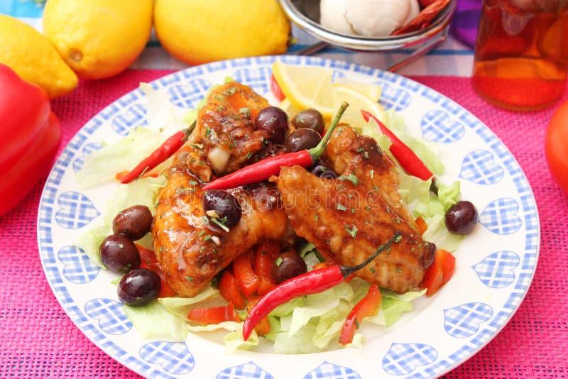Kurczak z chili kumberlandem zdjęcie stock