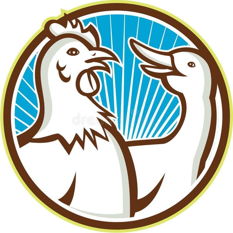 Kurczak Z Gęsią kreskówką ilustracja wektor