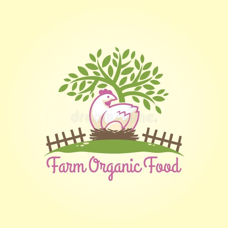 Kurczak z jajkiem w gniazdeczku pod drzewem ilustracji