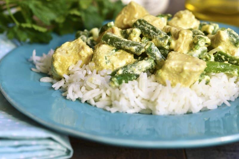 Kurczaka curry z szparagową fasolą fotografia stock