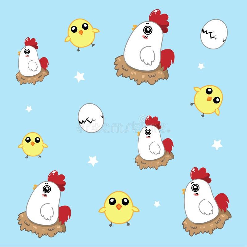 Kurczaka deseniowy śliczny w niebie ilustracja wektor