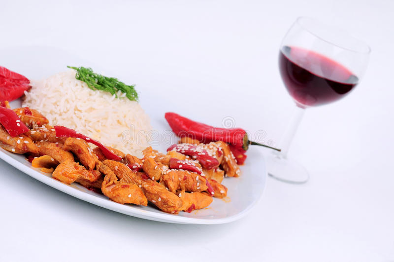 kurczaka dodatek specjalny półkowy ryżowy obraz royalty free
