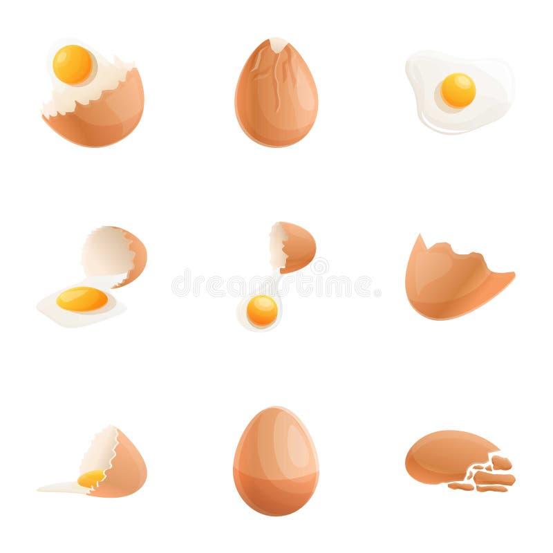 Kurczaka eggshell ikony set, kreskówka styl ilustracji