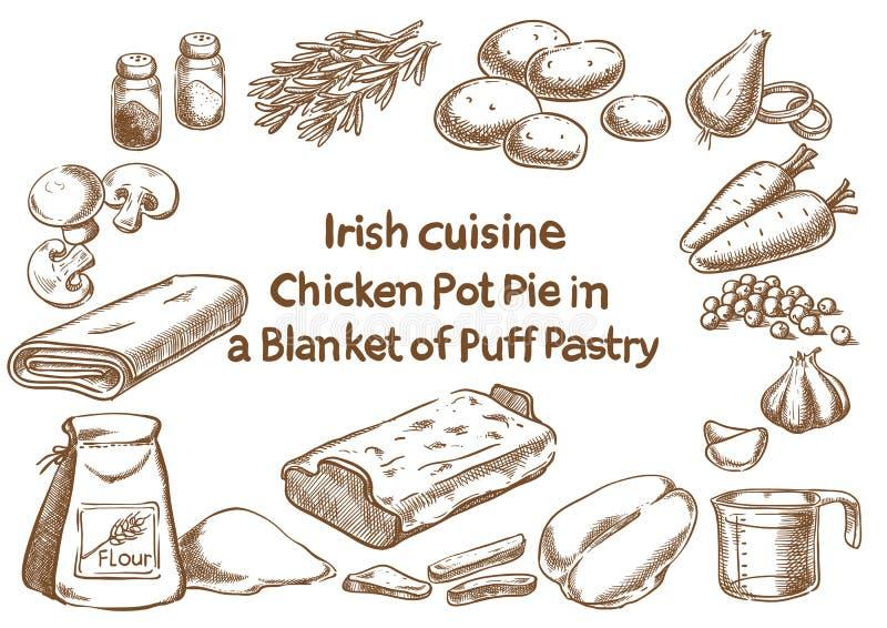 Kurczaka garnka kulebiak w koc uderzenia zakańczającego ciasta ingre ilustracja wektor