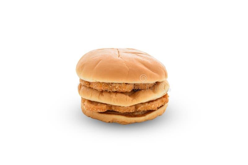 Kurczaka hamburger na białym backgroung obraz stock