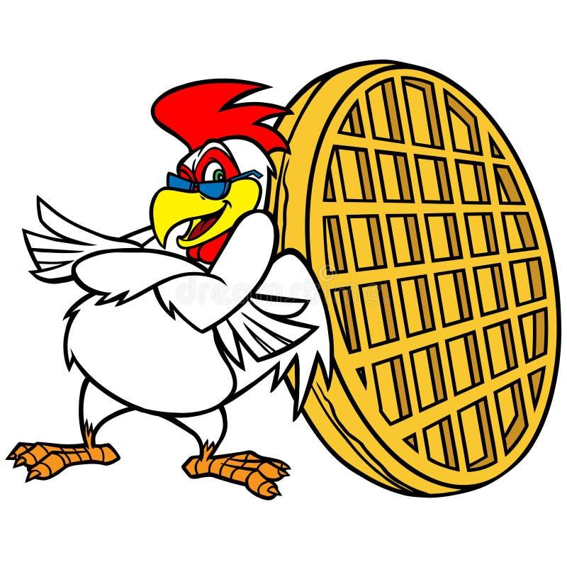 Download Kurczaka i gofra maskotka ilustracja wektor. Ilustracja złożonej z restauracja - 53787624