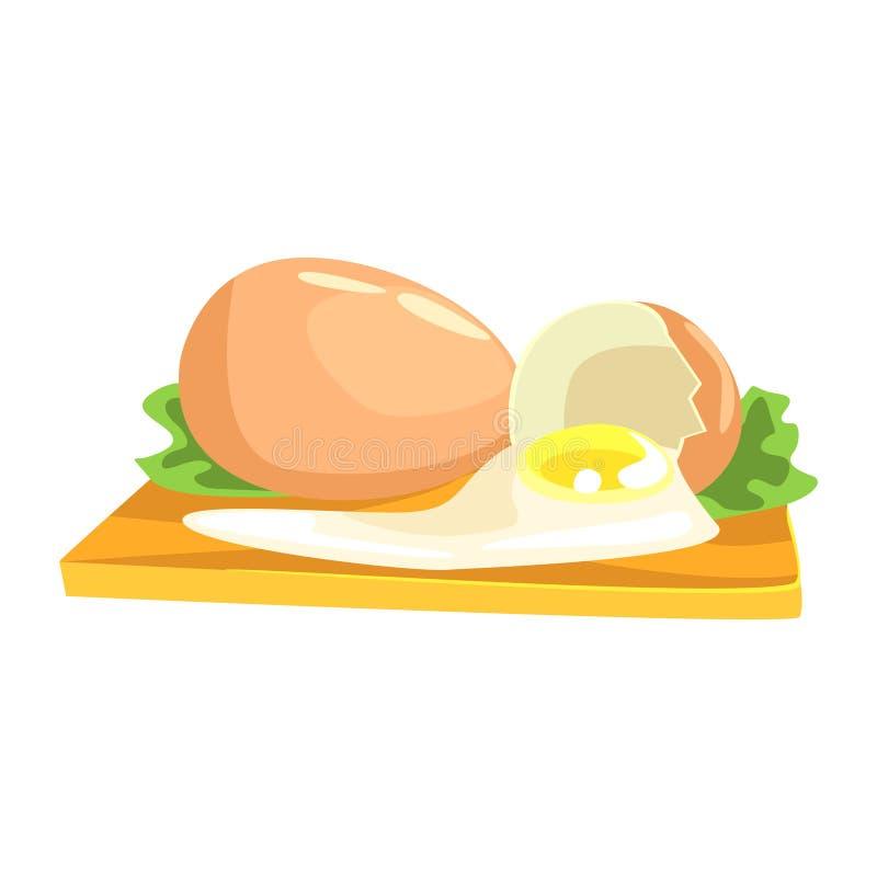 Kurczaka jajko, produktu spożywczego bogactwo W proteinach, ważny element Zdrowa Zrównoważona dieta wektoru ilustracja ilustracji