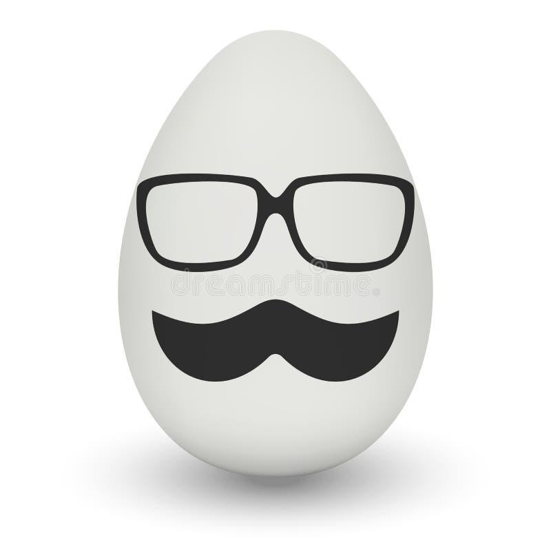 Kurczaka jajko z modniś maską wektor royalty ilustracja