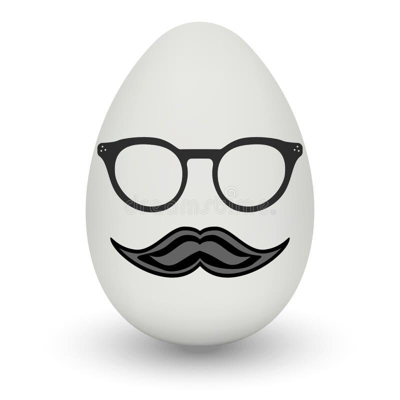 Kurczaka jajko z modniś maską wektor ilustracji