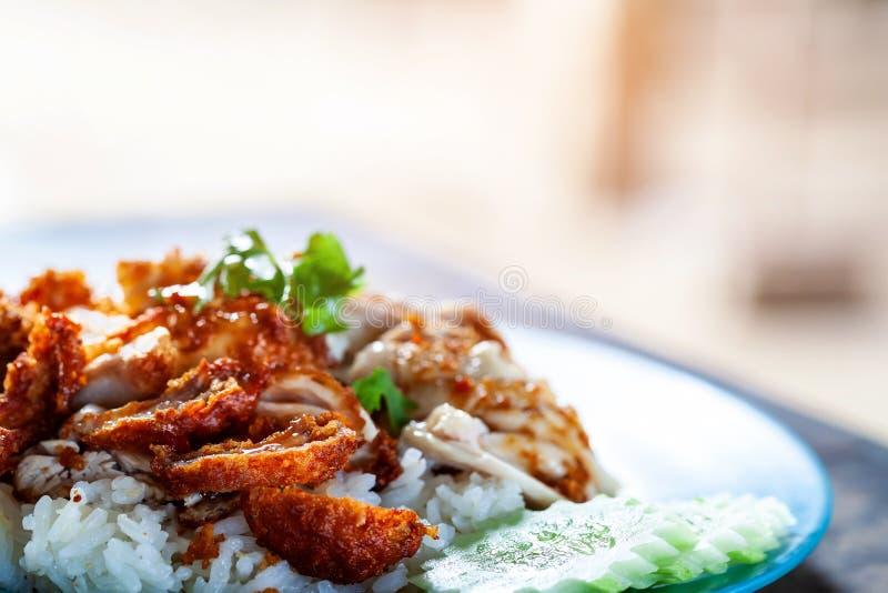 kurczaka jedzenie smażący wyśmienity ryżowy tajlandzki obrazy stock
