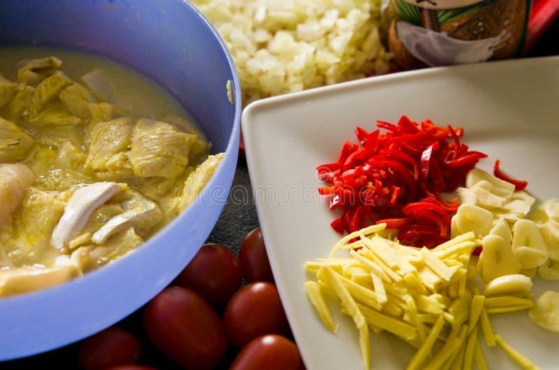 Kurczaka jedzenie z ryż, papryka, pomidory fotografia stock
