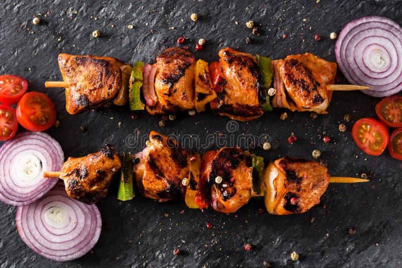 kurczaka kebab shish warzywa obrazy royalty free