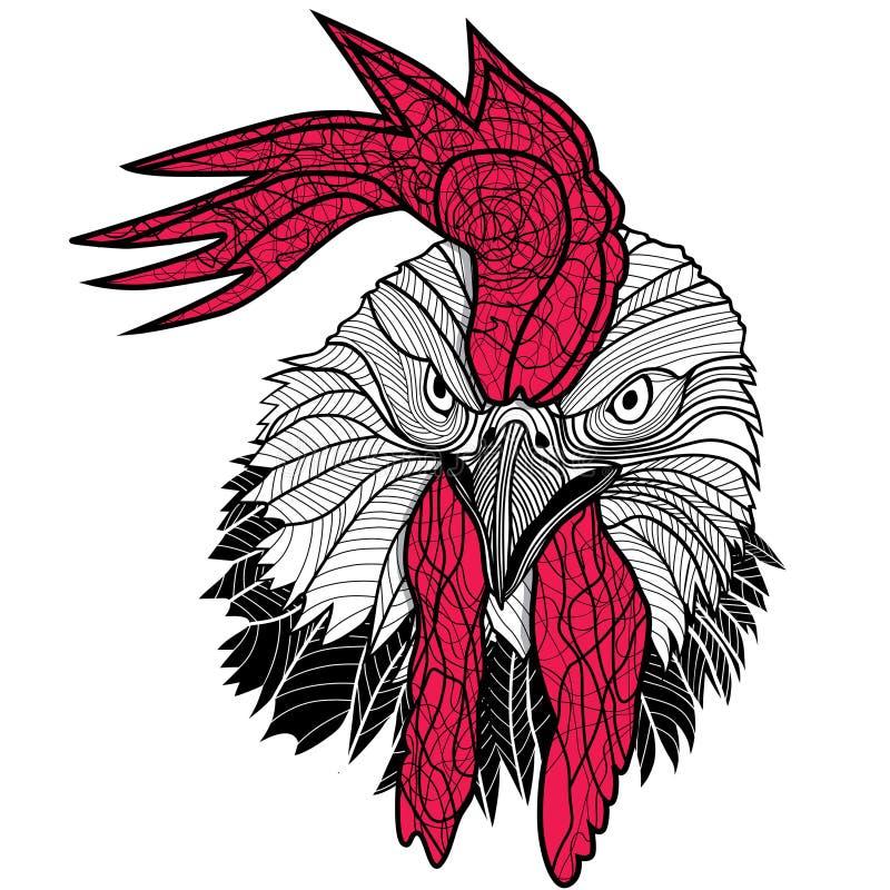 Kurczaka koguta głowy projekt dla koszulek odizolowywać na białym tle Wektorowy ilustracyjny tatuaż kogut ilustracji