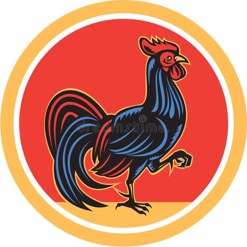 Kurczaka koguta odprowadzenia Marszowy okrąg Retro royalty ilustracja