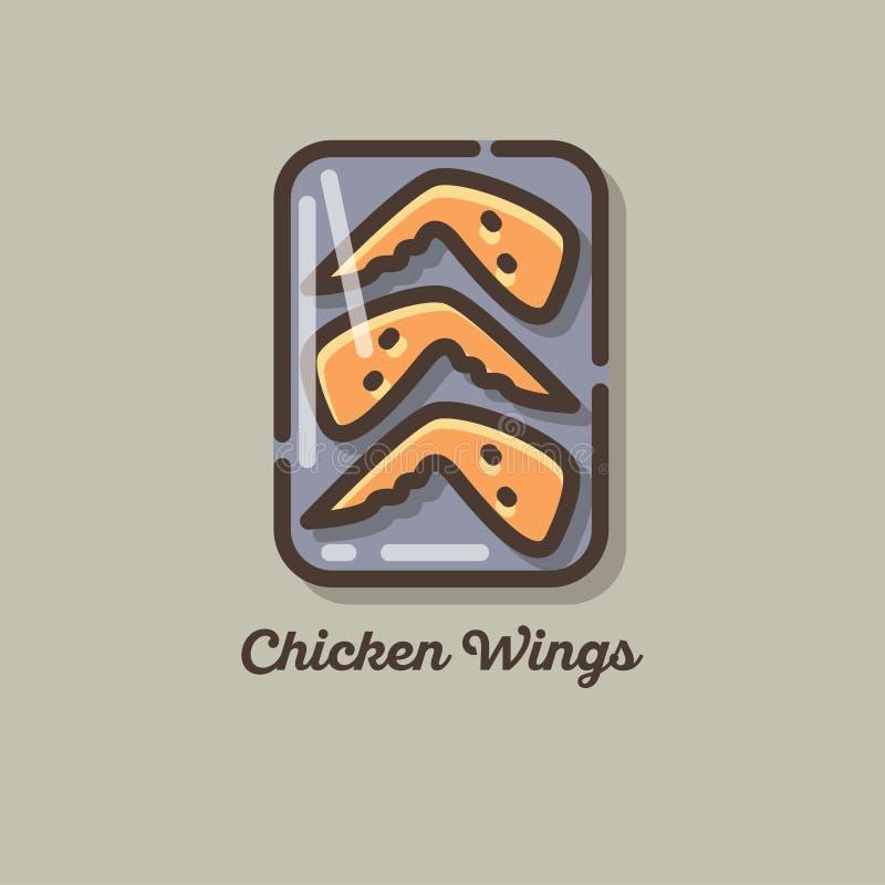 Kurczaka mięsa ikony kurczaków skrzydła Płaska ilustracja ilustracji