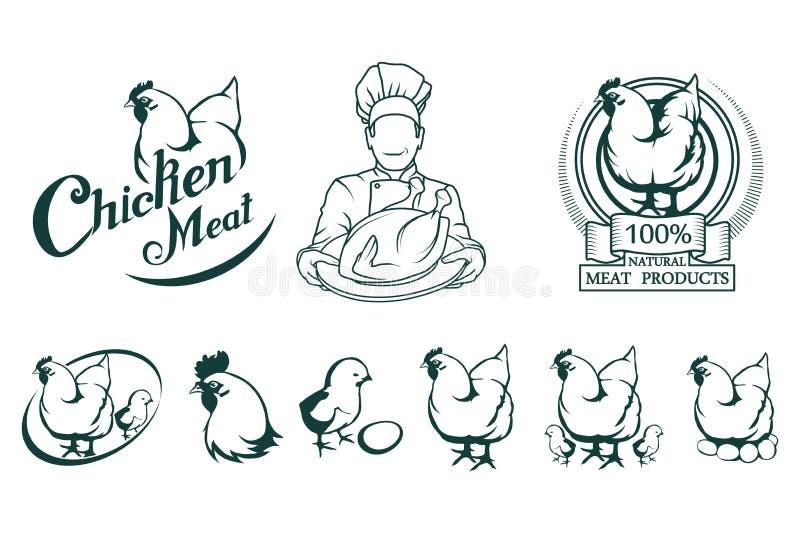 Kurczaka mięsa logo Mięsny jedzenie ilustracji