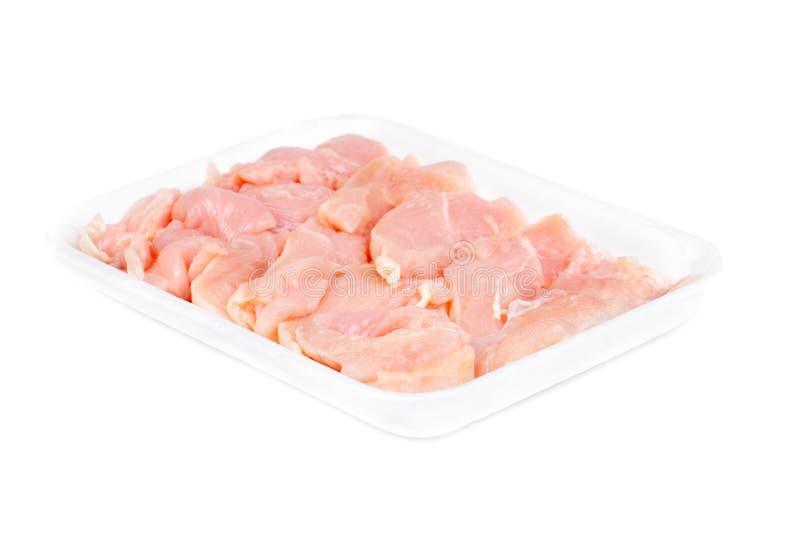 Kurczaka mięso pokrajać odizolowywającym na białym tle obrazy royalty free