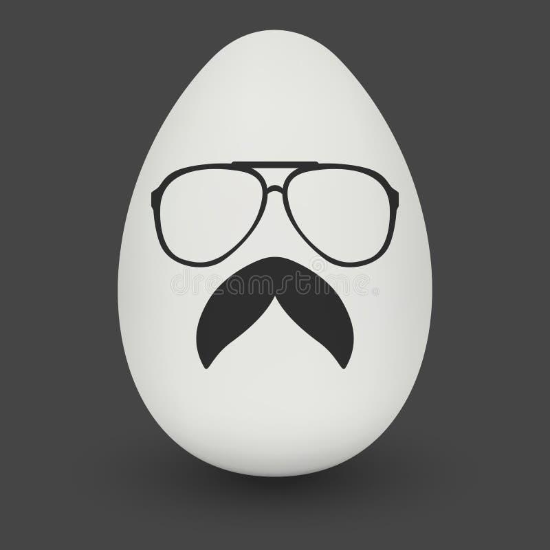 Kurczaka modnisia głupka Jajeczni szkła i elegancki wąsy ilustracji