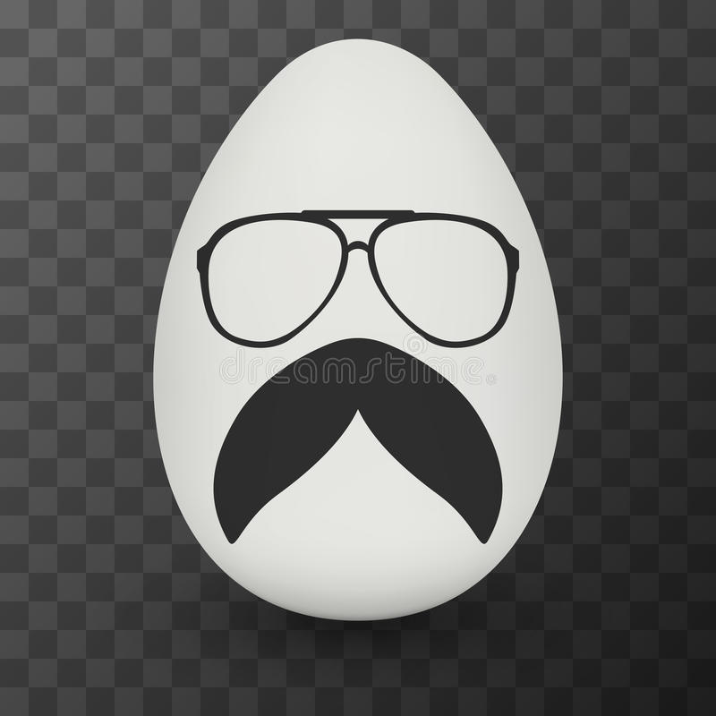 Kurczaka modnisia głupka Jajeczni szkła i elegancki wąsy royalty ilustracja