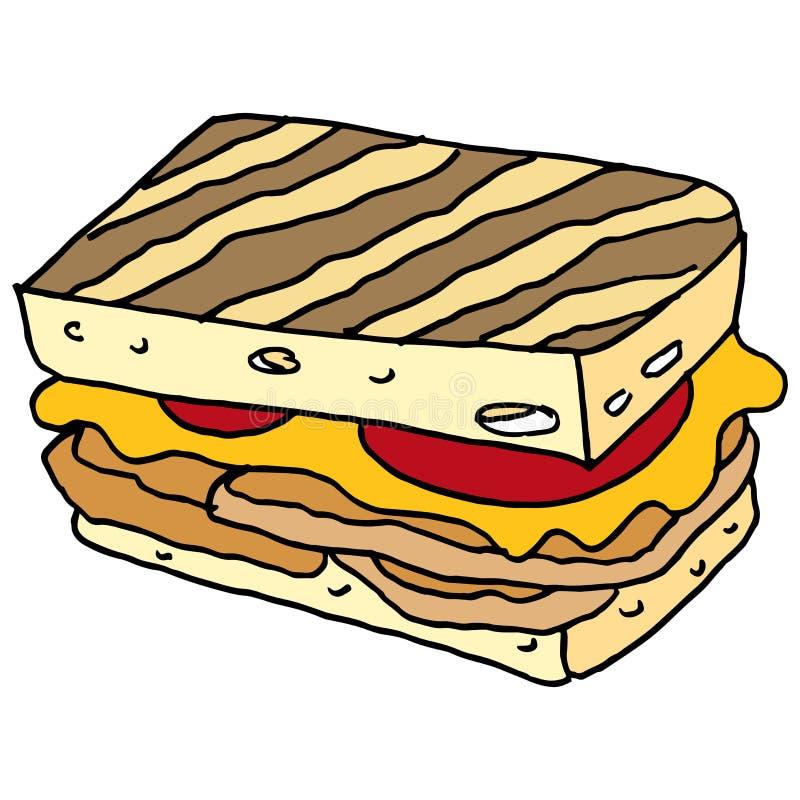 Kurczaka panini kanapka ilustracja wektor