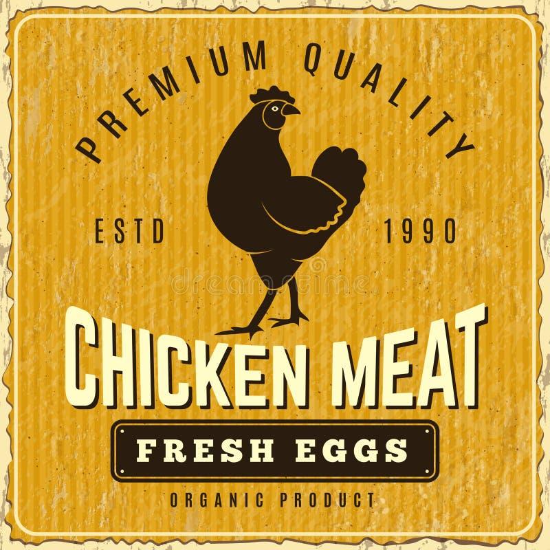 Kurczaka plakat Świeżego rolnego menu logo pollo plakata wektoru restauracyjny szablon ilustracja wektor