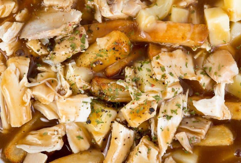Kurczaka poutine Quebec kuchnia obraz stock