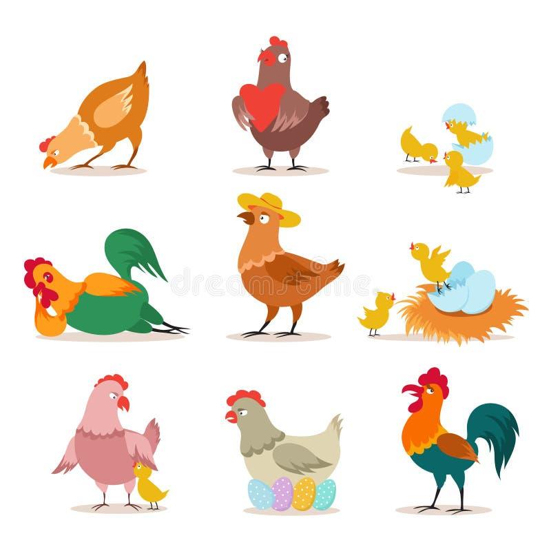 Kurczaka set Rolny kurczątko, karmazynka i kogut w różnorodnych pozach, Szczęśliwych Świąt Bożego Narodzenia kurczak Śmieszna dom ilustracji