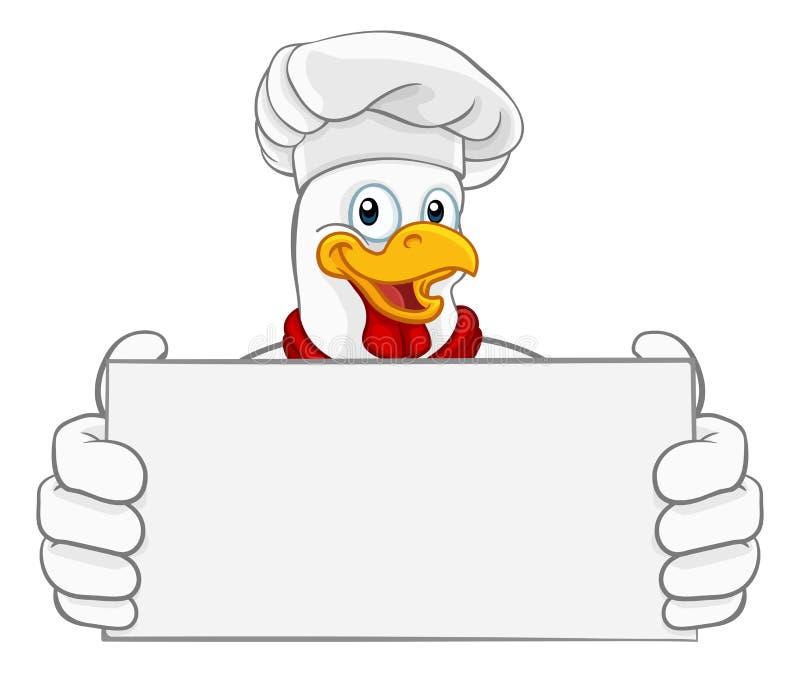 Kurczaka szefa kuchni kreskówki koguta Cockerel maskotki znak royalty ilustracja
