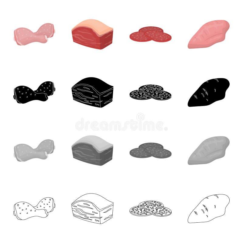 Kurczaka udo, wieprzowina polędwicowa, pierś, kawałek kiełbasa Mięso ustalone inkasowe ikony w kreskówki czerni monochromatycznym royalty ilustracja