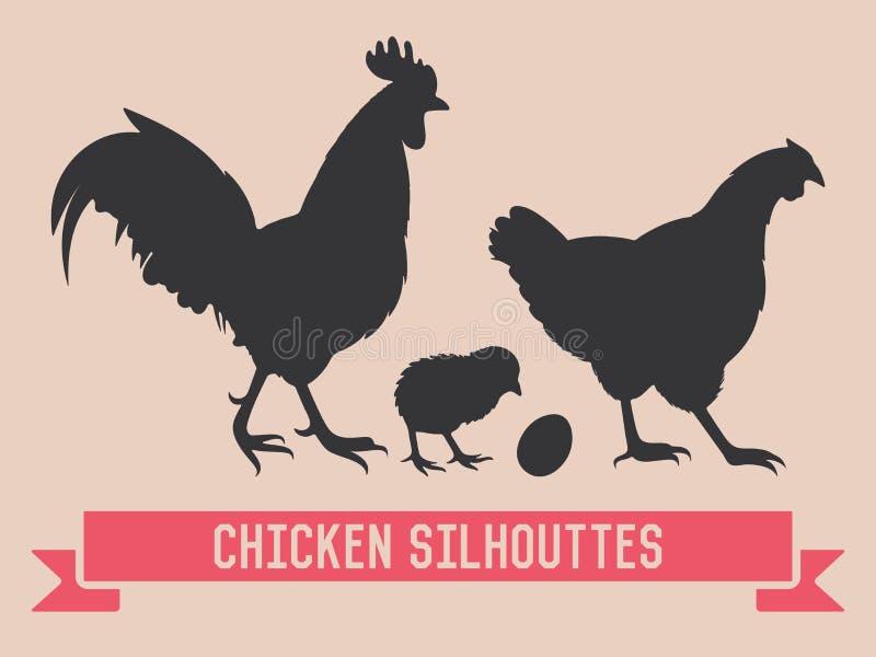 Kurczaka wektoru sylwetki ilustracja wektor