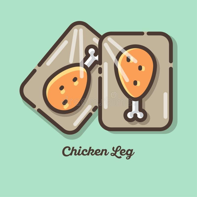 kurczaki się blisko nogi Kurczaka mięsa ikony Płaska ilustracja kurczaka mięso ilustracja wektor