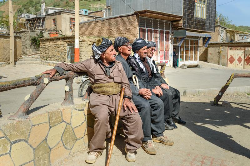 Kurdish men in Darreh Tafi village near Zarivar lake, Marivan, Iran stock photos