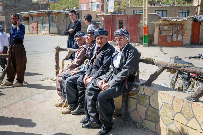 Kurdish men in Darreh Tafi village near Zarivar lake, Marivan, Iran stock image