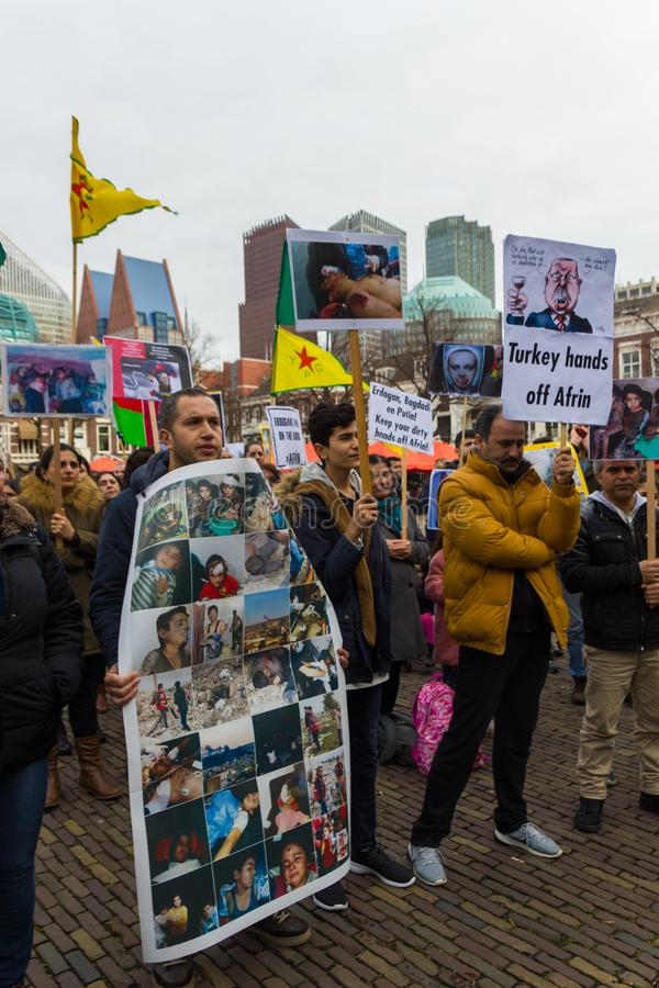 Kurdish protest rally outside Dutch parliament demonstrating against Turkey and Turkish President Tayyip Erdogan royalty free stock images