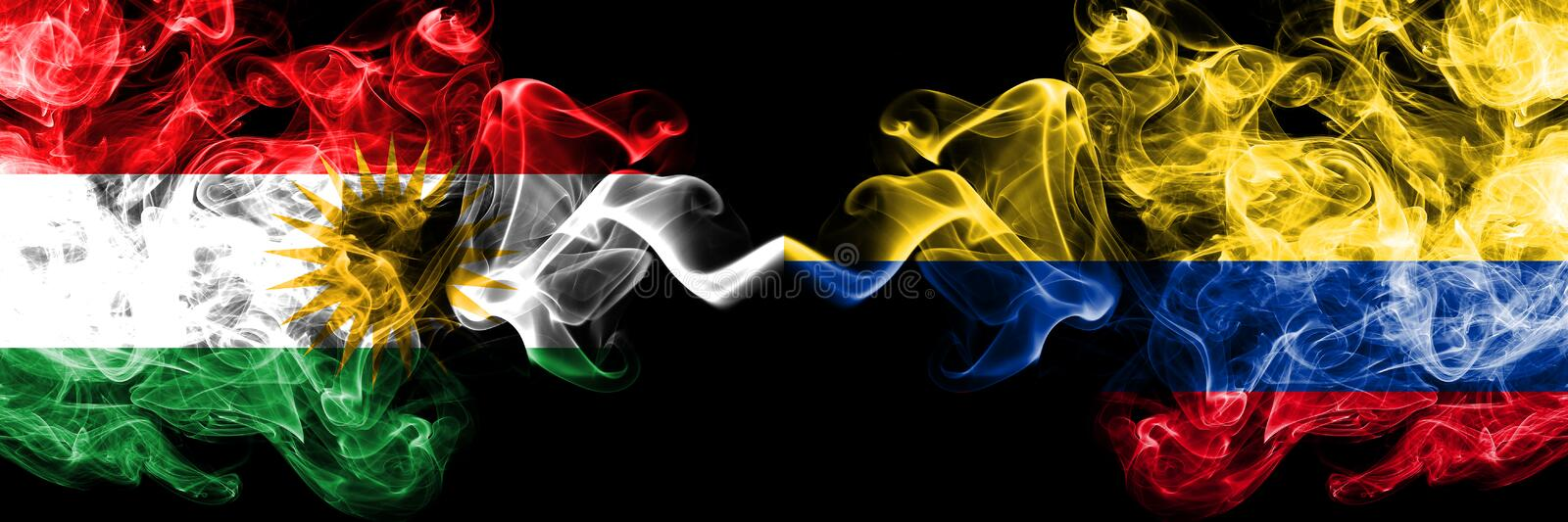 Kurdistan vs Colombia, Colombian smoke flags placed side by side. Thick colored silky smoke flags of Kurds and Colombia, Colombian.  royalty free illustration