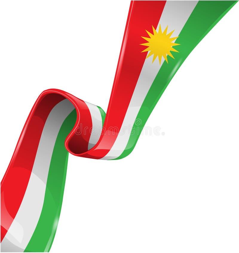 Kurdistanbandflagga på vit bakgrund arkivfoton
